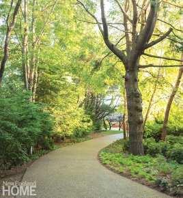 Winding garden path.