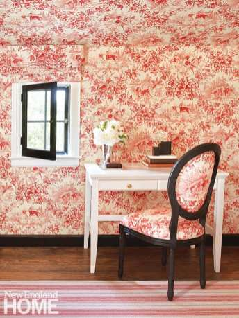 Guest bedroom with pink and red toile.