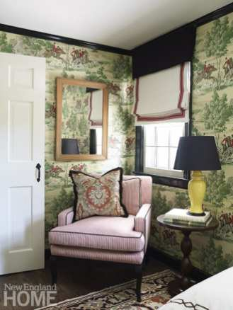 Corner of a guest bedroom with equestrian wallpaper.