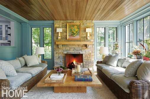 Sunroom with wood ceiling.