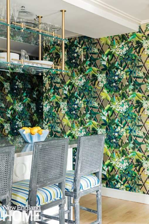 Boston kitchen with bold floral wallpaper.
