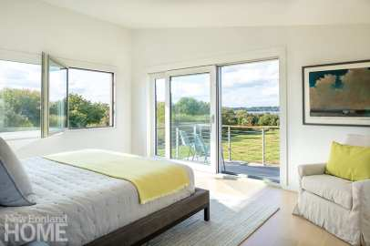 Contemporary bedroom with a view