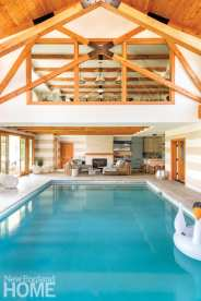 Indoor pool with a viewing area.