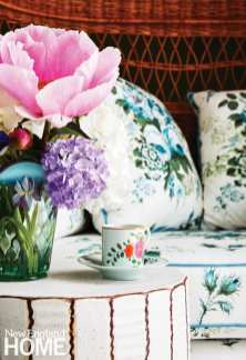 Textiles from Lisa Fine harken to Nantucket's horticultural history.