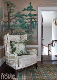 Zebra-striped chair against mural wallpaper.