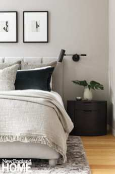 In the primary suite, Rogers added interest with a dark green mohair pillow interspersed with channeled-velvet European shams and a Walter G accent pillow.