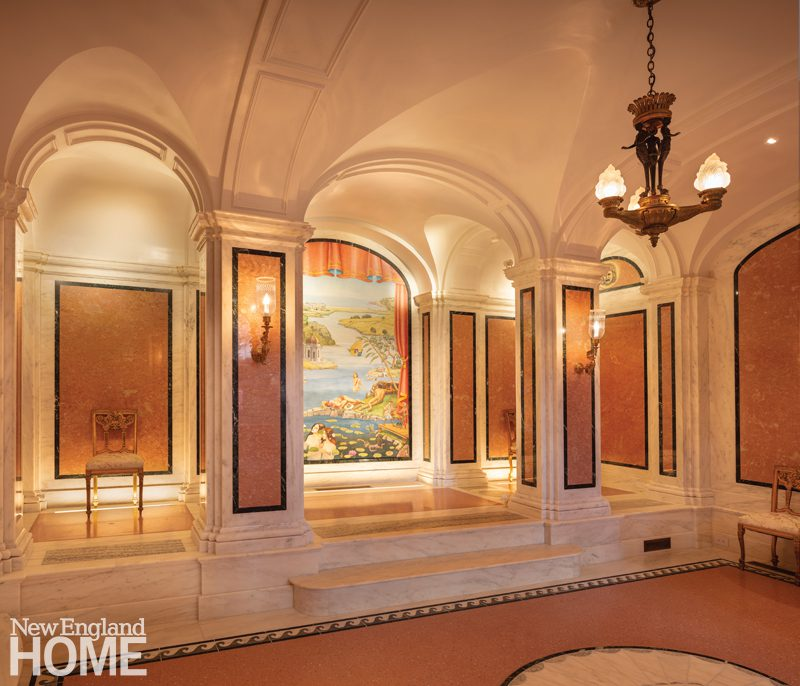 On the building's lower level, a vaulted marble room includes a raised stage ideal for performances by the homeowner's young grandchildren.