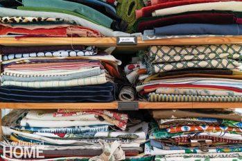 Piles of folded fabrics