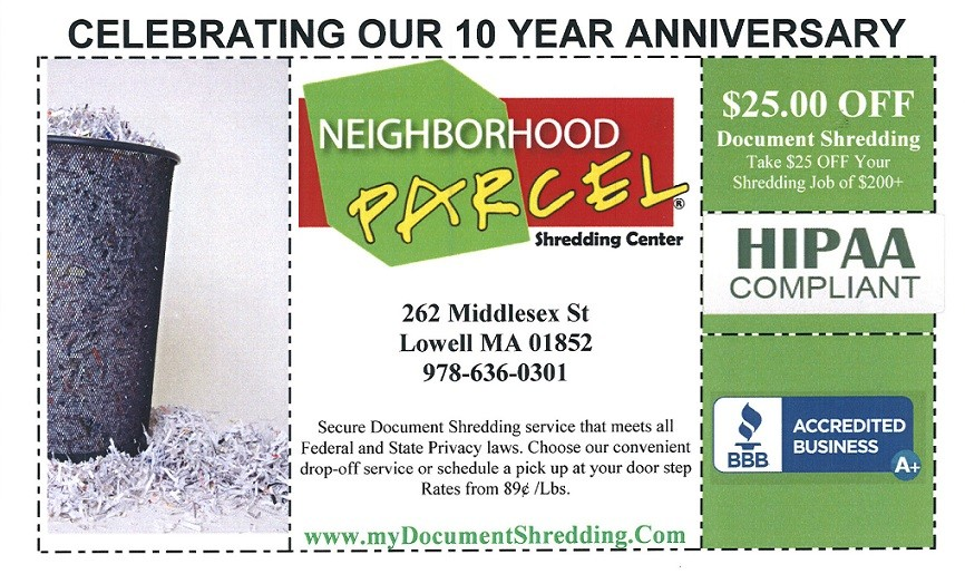 Document shredding Discount Coupon