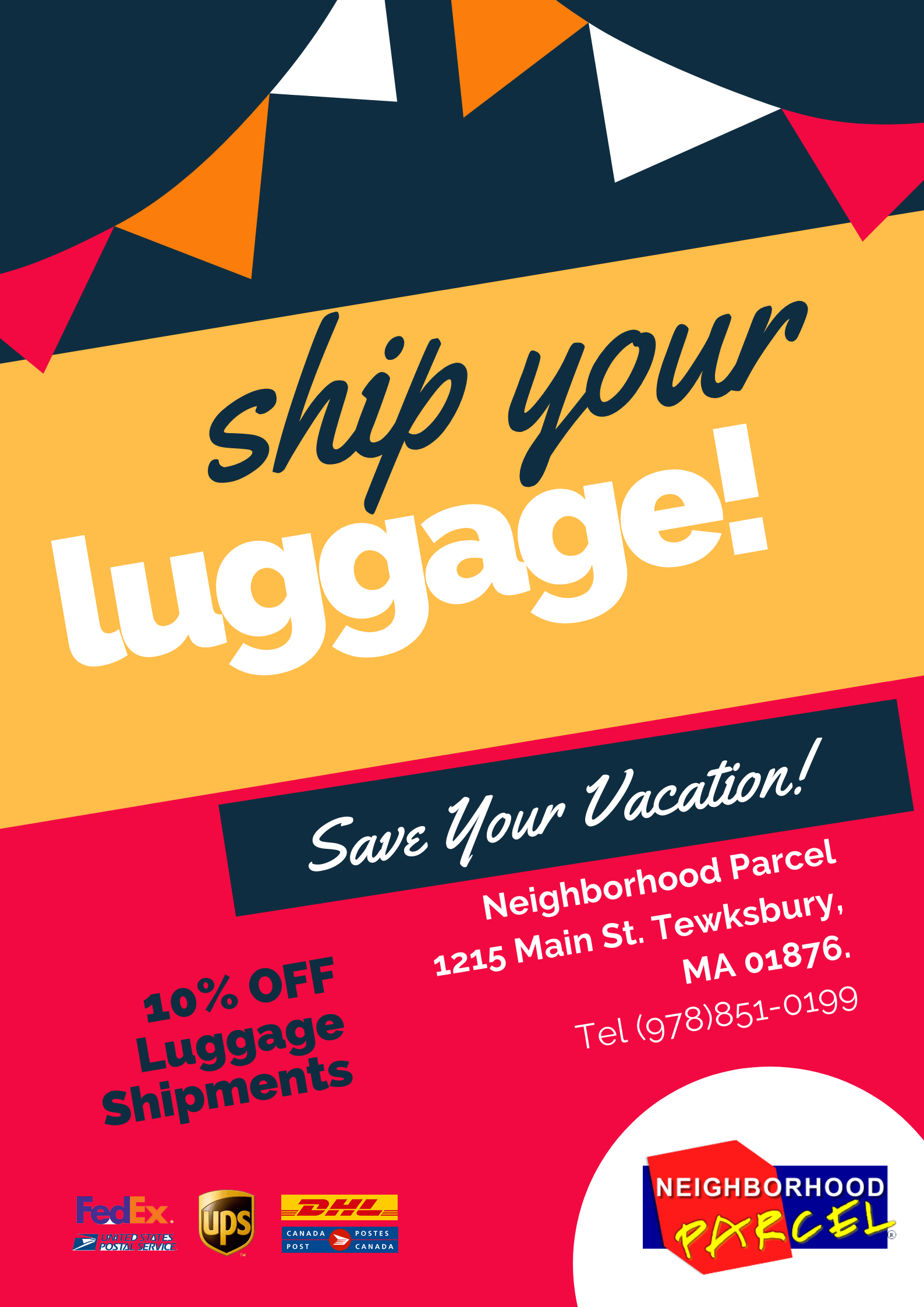 Luggage shipping service company Near Boston MA