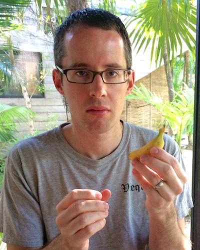 the author not amused with a tiny banana