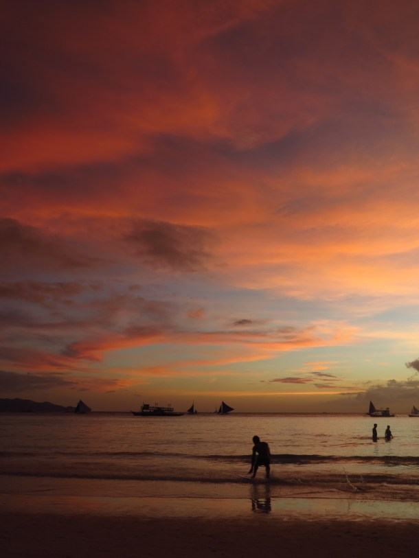 Another stunning sunset on the island of Boracay, Philippines