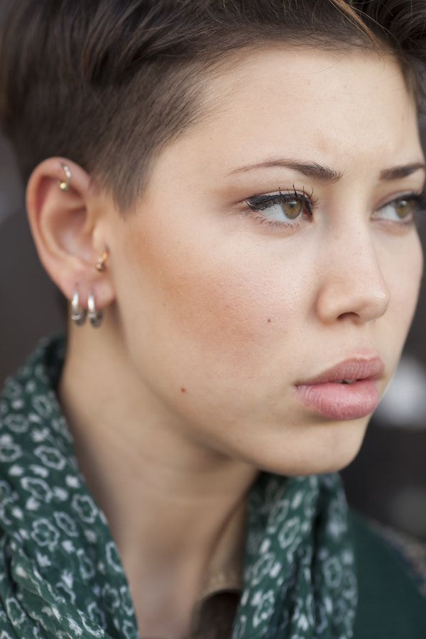 woman with cartilage piercings