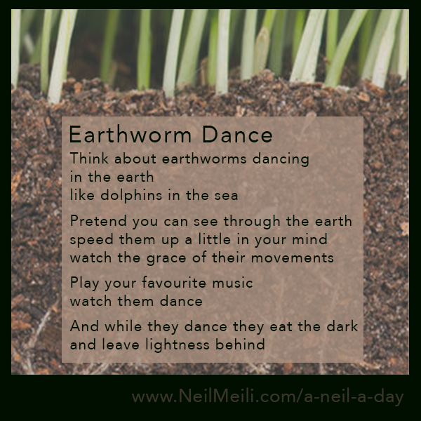 Think about earthworms dancing in the earth like dolphins in the sea  Pretend you can see through the earth speed them up a little in your mind watch the grace of their movements  Play your favourite music watch them dance  And while they dance they eat the dark and leave lightness behind