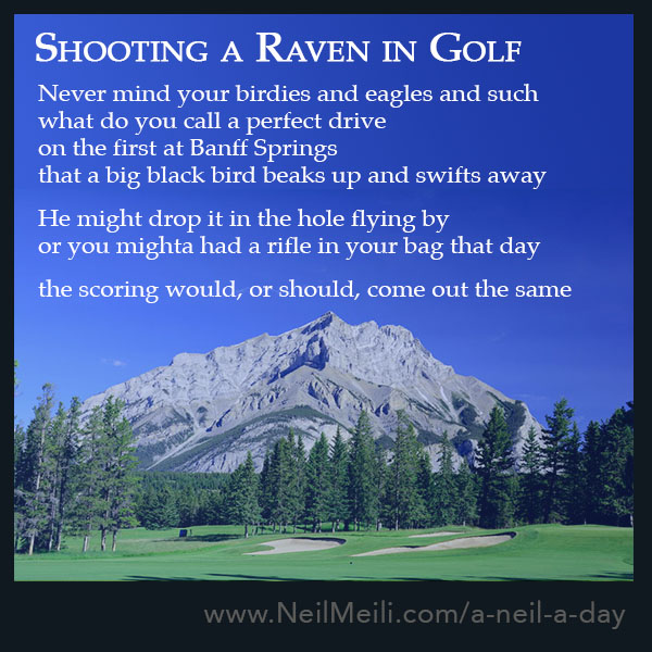 Never mind your birdies and eagles and such what do you call a perfect drive  on the first at Banff Springs that a big black bird beaks up and swifts away   He might drop it in the hole flying by or you mighta had a rifle in your bag that day  the scoring would, or should, come out the same
