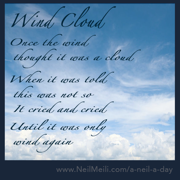 Once the wind   thought it was a cloud   When it was told   this was not so   It cried and cried   Until it was only   wind again