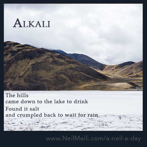 The hills  came down to the lake to drink  Found it salt and crumpled back to wait for rain