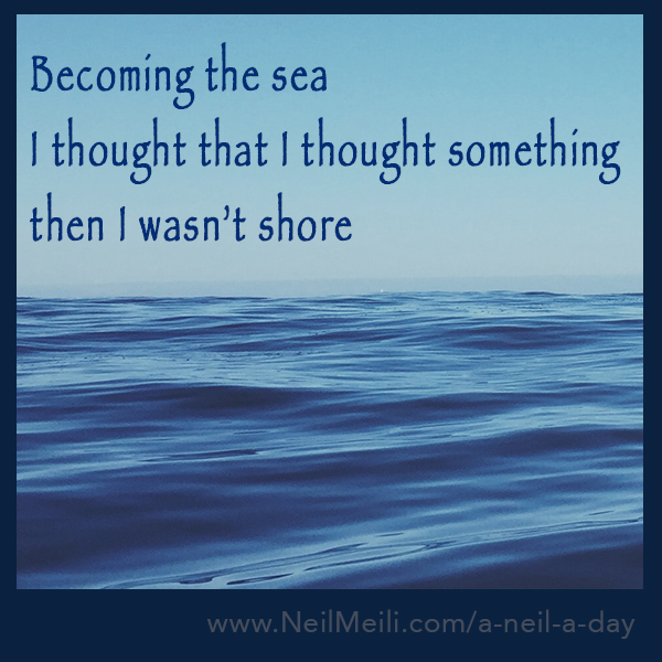 Becoming the sea I thought that I thought something  then I wasn't shore