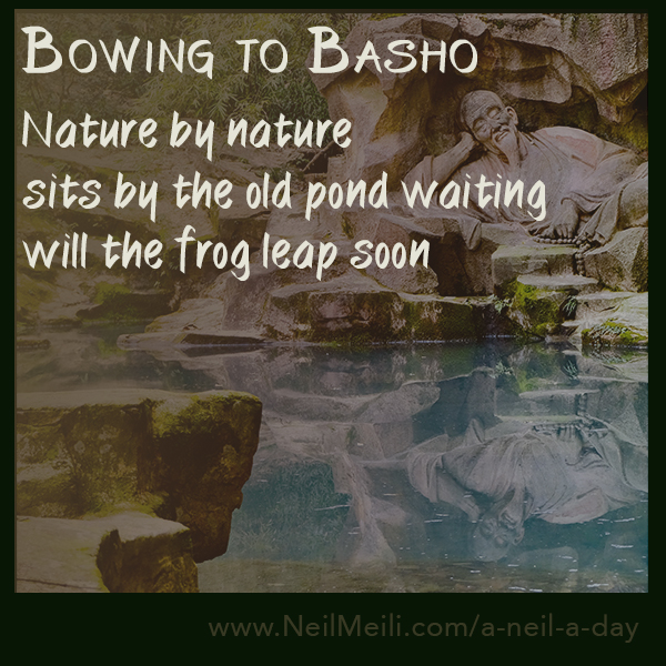 Nature by nature sits by the old pond waiting will the frog leap soon