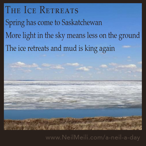 Spring has come to Saskatchewan More light in the sky means less on the ground The ice retreats and mud is king again