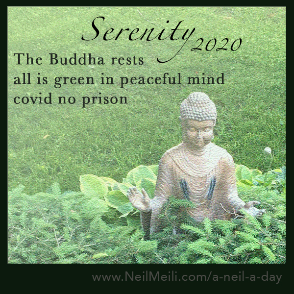 The Buddha rests all is green in peaceful mind covid no prison