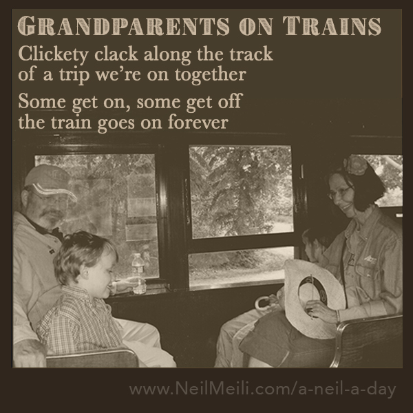 Clickety clack along the track of a trip we're on together  Some get on, some get off the train goes on forever