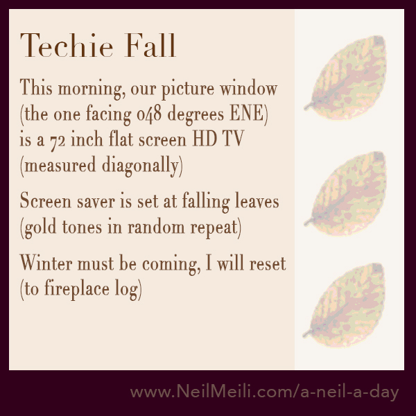 This morning, our picture window (the one facing 048 degrees ENE) is a 72 inch flat screen HD TV (measured diagonally)  Screen saver is set at falling leaves (gold tones in random repeat)  Winter must be coming, I will reset (to fireplace log)