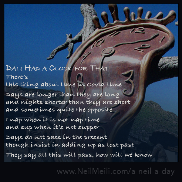 There's this thing about time in Covid time  Days are longer than they are long and nights shorter than they are short and sometimes quite the opposite  I nap when it is not nap time and sup when it's not supper  Days do not pass in the present  though insist in adding up as lost past   They say all this will pass, how will we know