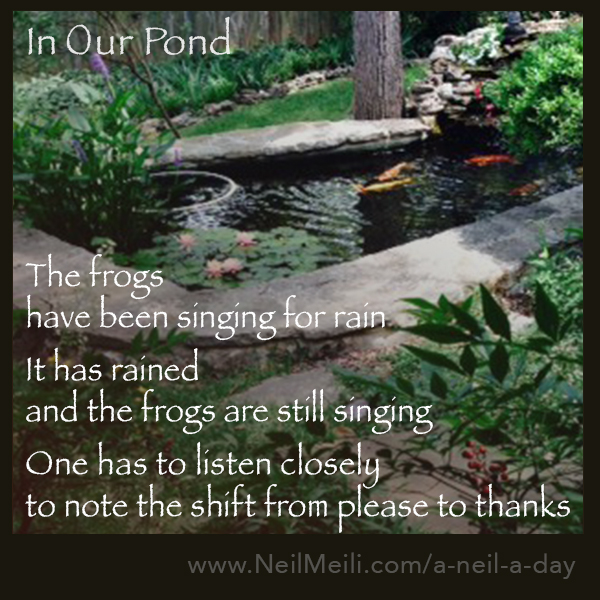 The frogs have been singing for rain  It has rained and the frogs are still singing  One has to listen closely to note the shift from please to thanks