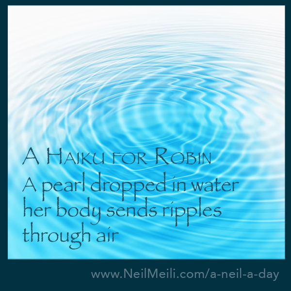 A pearl dropped in water her body sends ripples  through air