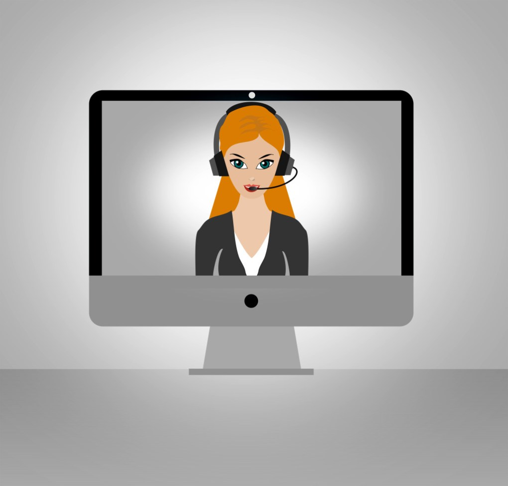 a graphic of a woman wearing a headset