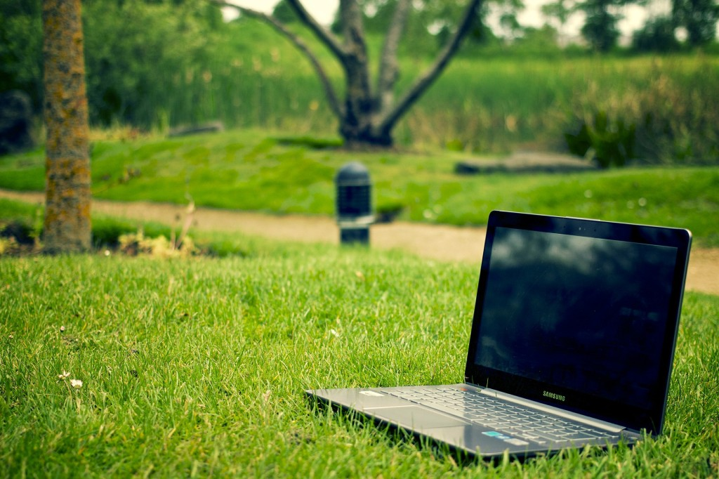 a laptop on the lawn