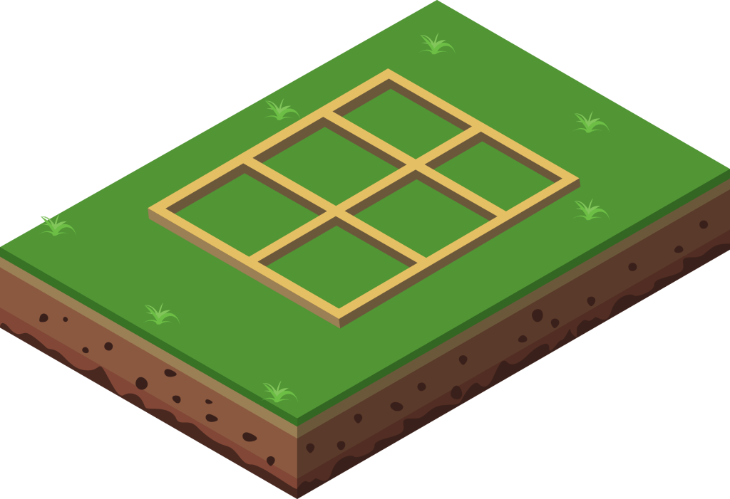 Illustration of a concrete base with timber bearers for a shed