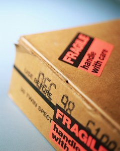 """""""Fragile"""" Stickers on a Package"""