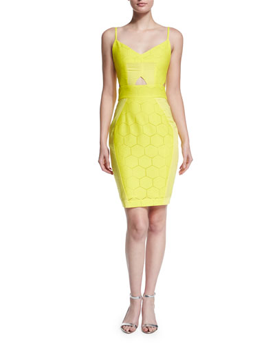 Suboo Yellow Hexagon-Pattern Cutout Twill Dres