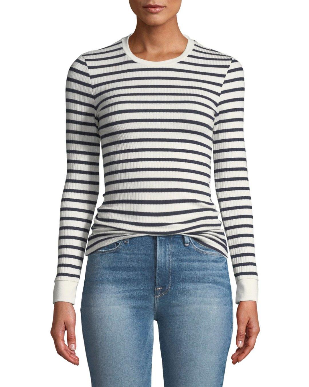 466435640f5 Neiman Marcus – Striped Rib-Knit Long-Sleeve Top – $135.00