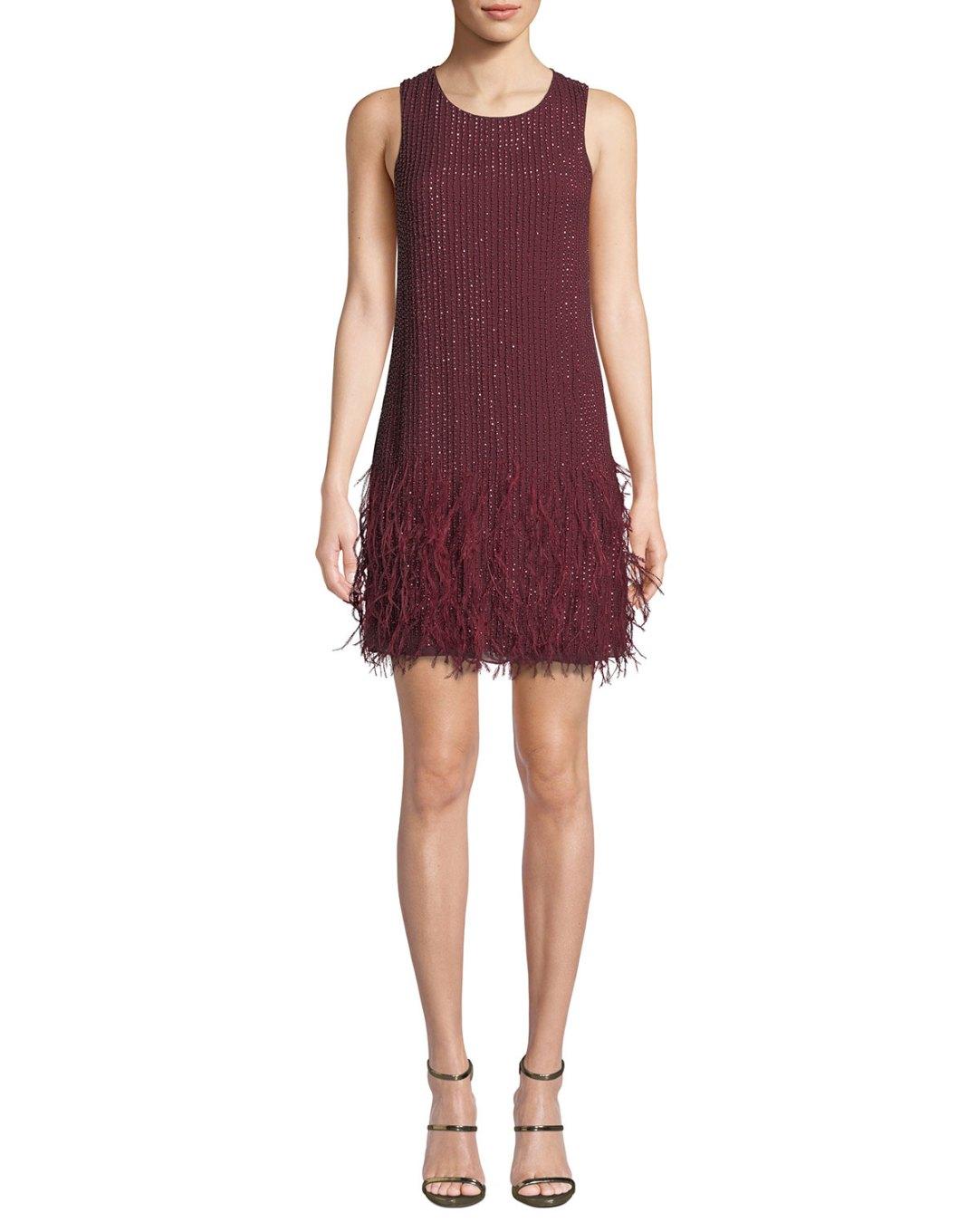 f5e7e6ba5cdbd Neiman Marcus – Allegra Beaded Mini Dress with Feather Hem –  498.00