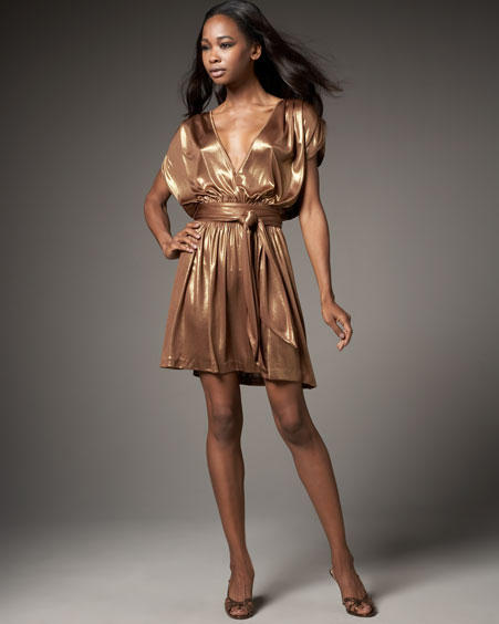 Womens Halston Heritage Gold Shirred Shoulder Mini Dress
