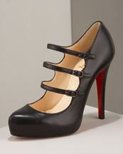 X0BB5 Christian Louboutin Three-Strap Mary Jane