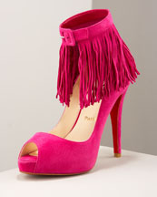 X0BB6 Christian Louboutin Suede Fringe Pump