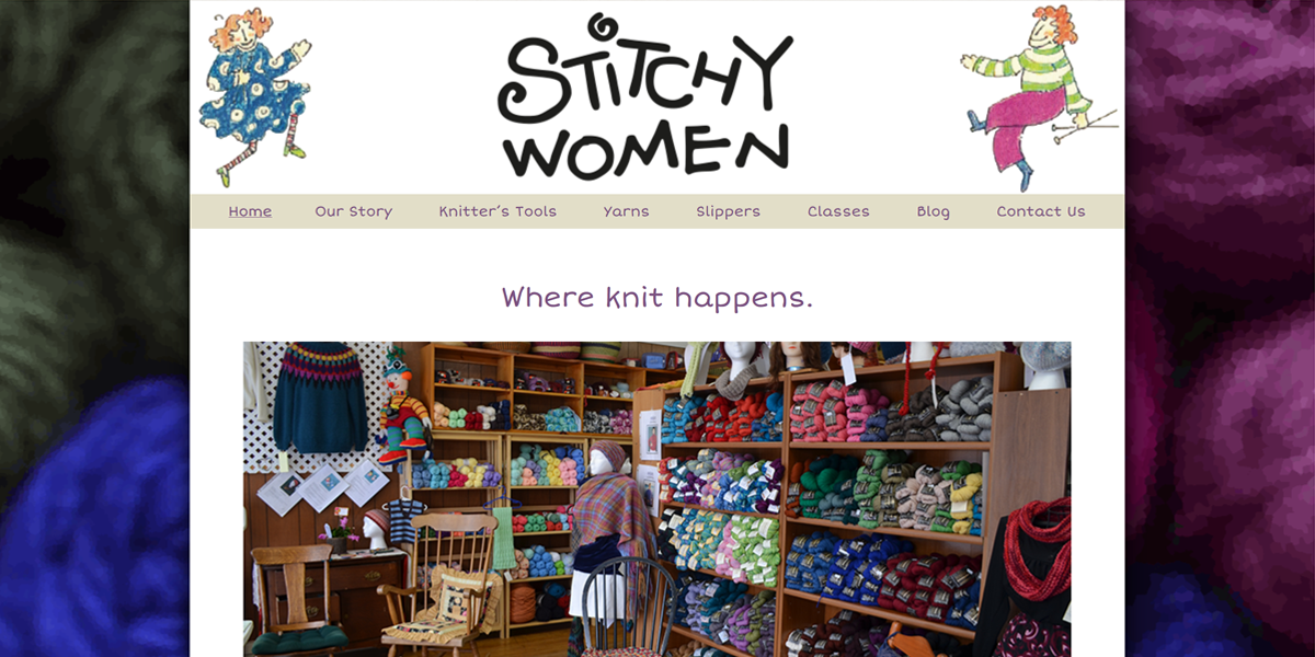 Stitchy Women (2014) | Website for a yarn shop that used to reside in Poultney. While the storefront is gone, Mary Lee is still in business out of her home. Visit the live site.