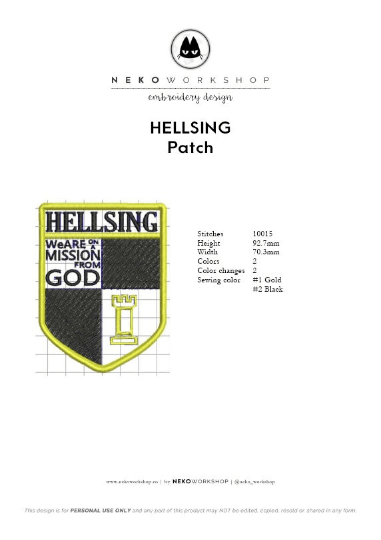 hellsing cosplay badge patch design embroidery
