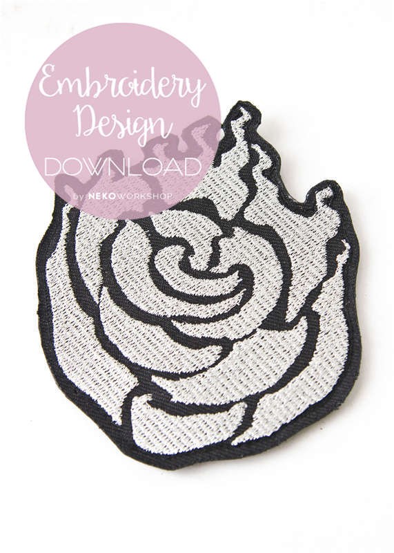 rwby ruby rose cosplay embroidery patch design