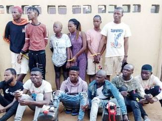 Arrested cultists in Lagos state