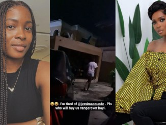 Actress, Jemima Osunde falls 'sick' over her inability to afford a Range Rover like some of her colleagues (Video)