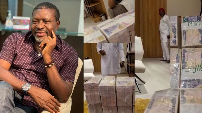 Obi Cubana's mum's burial: Actor, Kanayo O.Kanayo shows off the bundles of money he is going to spray (video)