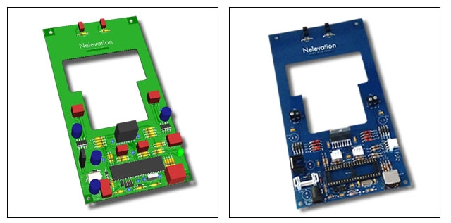 CAD model and actual Nelevator control PCB side by side