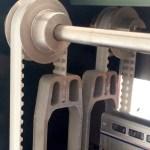 Water jet cut Nelevator aluminium components on pully belt