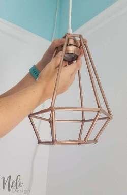 Make an affordable geometric pendant light nelidesign geometric pendant light diy dowels lampshade cheap easy and affordable tutorial aloadofball Choice Image