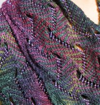Heather Undulating Waves beaded scarf by Nelkin Designs